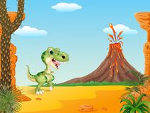 Cartoon funny dinosaur with prehistoric background Stock Images