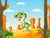Cartoon funny dinosaurwith the desert background Royalty Free Stock Photography