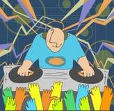 Cartoon funny DJ illustration Royalty Free Stock Image