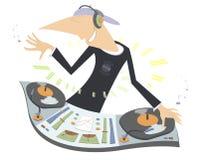 Cartoon funny DJ illustration Stock Photos
