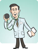Cartoon funny doctor with stethoscope. Vector illustration of cartoon funny doctor with stethoscope. Easy-edit layered vector EPS10 file scalable to any size Stock Images