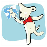 Cartoon funny dog with photocard Stock Image