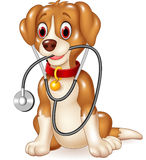 Cartoon funny dog sitting with stethoscope Stock Photography