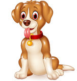 Cartoon funny dog sitting with tongue out Royalty Free Stock Photos