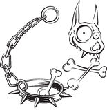 Cartoon funny dog skull with crossbones. Illustration of cartoon funny dog skull, crossbones, iron chain and collar with spikes stock illustration