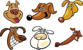 Cartoon funny dogs heads set Stock Image