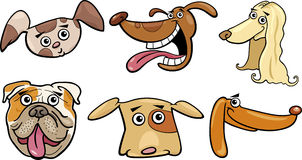Cartoon funny dogs heads set Royalty Free Stock Image