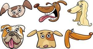Cartoon funny dogs heads set Royalty Free Stock Image
