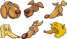 Cartoon funny dogs heads set Royalty Free Stock Photo