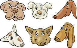 Cartoon funny dogs heads set Stock Photography