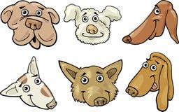 Cartoon funny dogs heads set Stock Photography