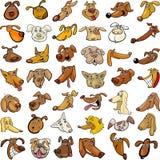 Cartoon funny dogs heads set royalty free illustration