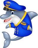 Cartoon funny dolphin wearing captain uniform Stock Images