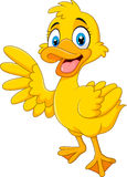 Cartoon funny duck waving hand isolated on white background Royalty Free Stock Photo