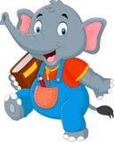 Cartoon funny elephant carrying book. Illustration of Cartoon funny elephant carrying book Royalty Free Stock Photos