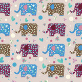 Cartoon funny elephant painted in imaginary colors seamless pattern Stock Photography