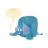 Cartoon funny elephant with speech bubble Royalty Free Stock Image