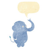 cartoon funny elephant with speech bubble Royalty Free Stock Photo