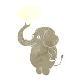 Cartoon funny elephant with speech bubble Royalty Free Stock Images