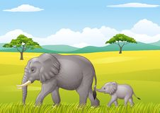 Cartoon funny elephant in the wild Royalty Free Stock Photography
