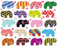 Cartoon funny elephants. Cute pattern wallpaper background in vector Royalty Free Stock Photo