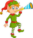Cartoon funny elf blowing trumpet Stock Photography