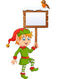 Cartoon funny elf boy holding blank sign with robin bird Stock Image