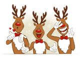 Cartoon, funny, emotional Christmas deer. Illustration with cartoon Christmas deer. They greet you and congratulate you on Christmas. Vector for you design Royalty Free Stock Photos