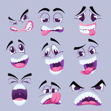 Cartoon funny faces with different expressions vector collection Royalty Free Stock Photo