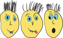 Cartoon  funny faces. Good humor, cunning, fear Royalty Free Stock Photography