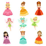 Cartoon funny fantasy princesses in different dresses and costumes. Fairytale vector illustration set Royalty Free Stock Photography