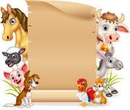 Cartoon funny farm animals with wooden sign Stock Photos