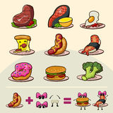 Cartoon funny fast foods isolated vector illustration Royalty Free Stock Photos