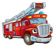 Cartoon funny firetruck - isolated Stock Photography
