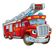 Cartoon funny firetruck - isolated Stock Image