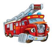 Cartoon funny firetruck - isolated Stock Photos