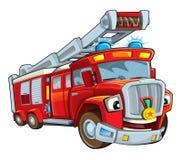 Cartoon funny firetruck - isolated Royalty Free Stock Photography