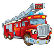 Cartoon funny firetruck - isolated Stock Images