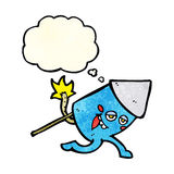 Cartoon funny firework character with thought bubble Royalty Free Stock Photography