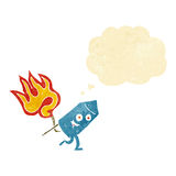 Cartoon funny firework character with thought bubble Royalty Free Stock Image
