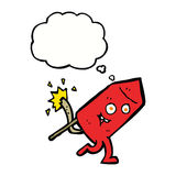 Cartoon funny firework character with thought bubble royalty free illustration