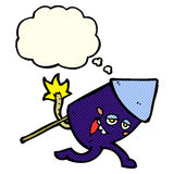 Cartoon funny firework character with thought bubble Royalty Free Stock Photos