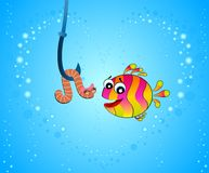 Cartoon funny fish. Little cartoon funny fish love a worm Royalty Free Stock Photography