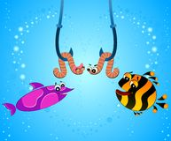 Cartoon funny fish eats a worm Royalty Free Stock Photography