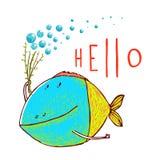 Cartoon Funny Fish Greeting Card Design Hand Drawn Royalty Free Stock Images