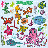 Cartoon Funny Fish, Sea Life background.Colored Doodle set. Sea life animals set .Fish,  octopus, crab, seahorse with coral,seaweed and shell. Funny cartoon Royalty Free Stock Photos