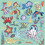 Cartoon Funny Fish, Sea Life background.Pastel Doodle set. Sea life animals set .Fish,  octopus, crab, seahorse with coral,seaweed and shell. Funny cartoon Royalty Free Stock Photo
