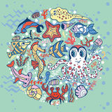 Cartoon Funny Fish, Sea Life circle background. Sea life animals circle set, fish  and octopus, crab with seahorse with coral,seaweed and shell. Funny cartoon Stock Image