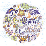 Cartoon Funny Fish, Sea Life circle background. Sea life animals circle set.Fish,  octopus, crab, seahorse with coral and seaweed,shell. Funny cartoon doodle Stock Photography