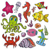 Cartoon Funny Fish, Sea Life .Colored Doodle set. Sea life animals set.Fish,  octopus, crab, seahorse with coral,seaweed and shell. Funny cartoon doodle Stock Image